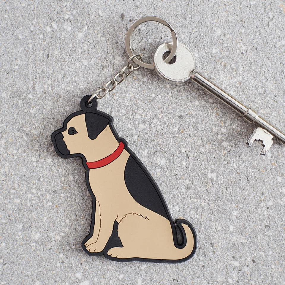 Border Terrier Dog Keyring - Sweet William
