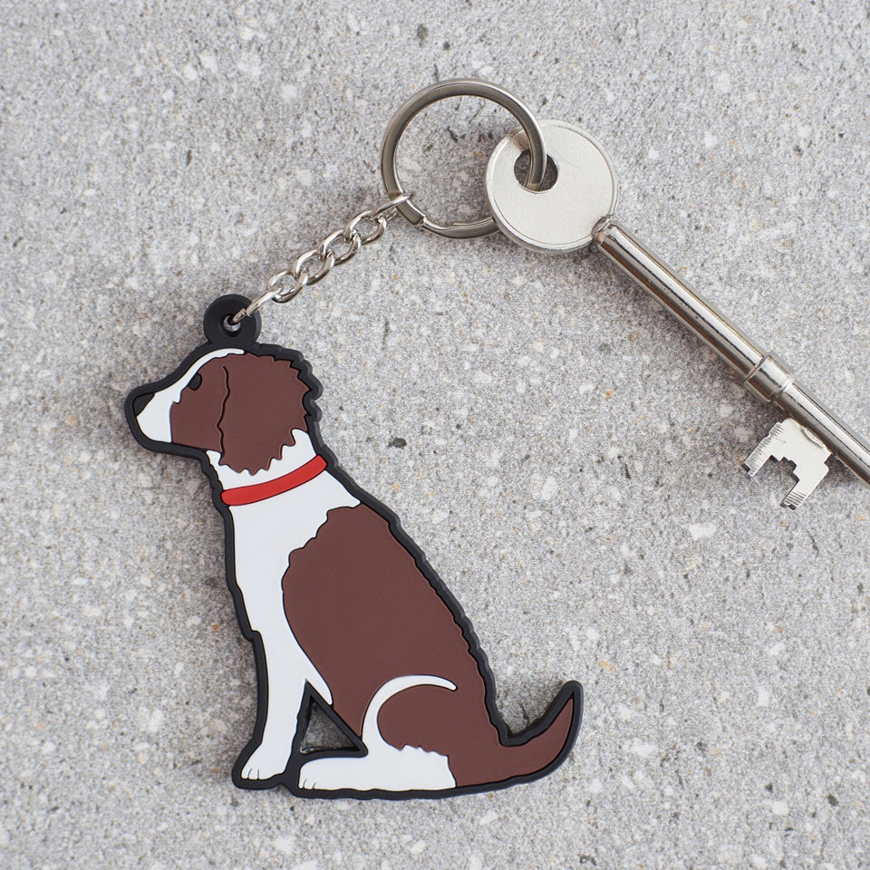 Liver & White Springer Spaniel Dog Keyring - Sweet William