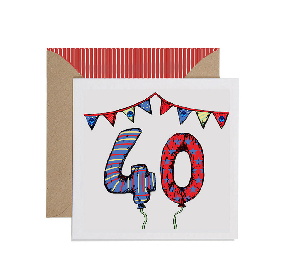 40th Birthday Card Balloons & Bunting - Apple & Clover