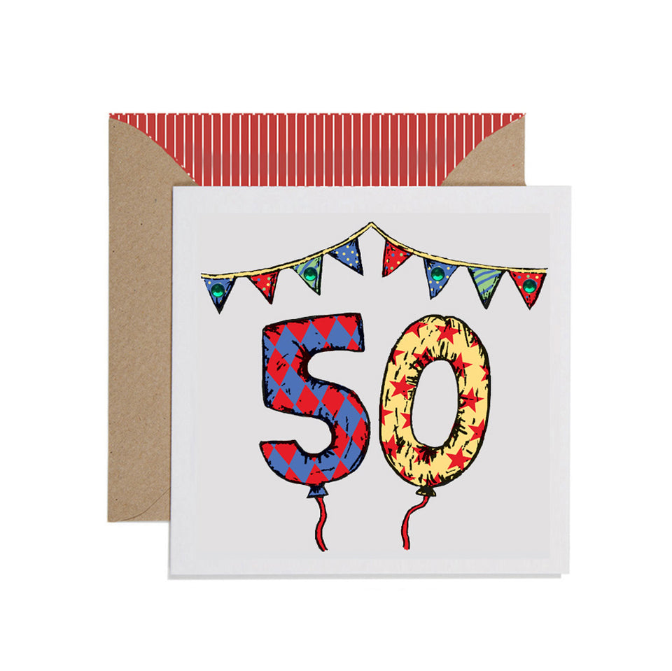 50th Birthday Card Balloons & Bunting - Apple & Clover