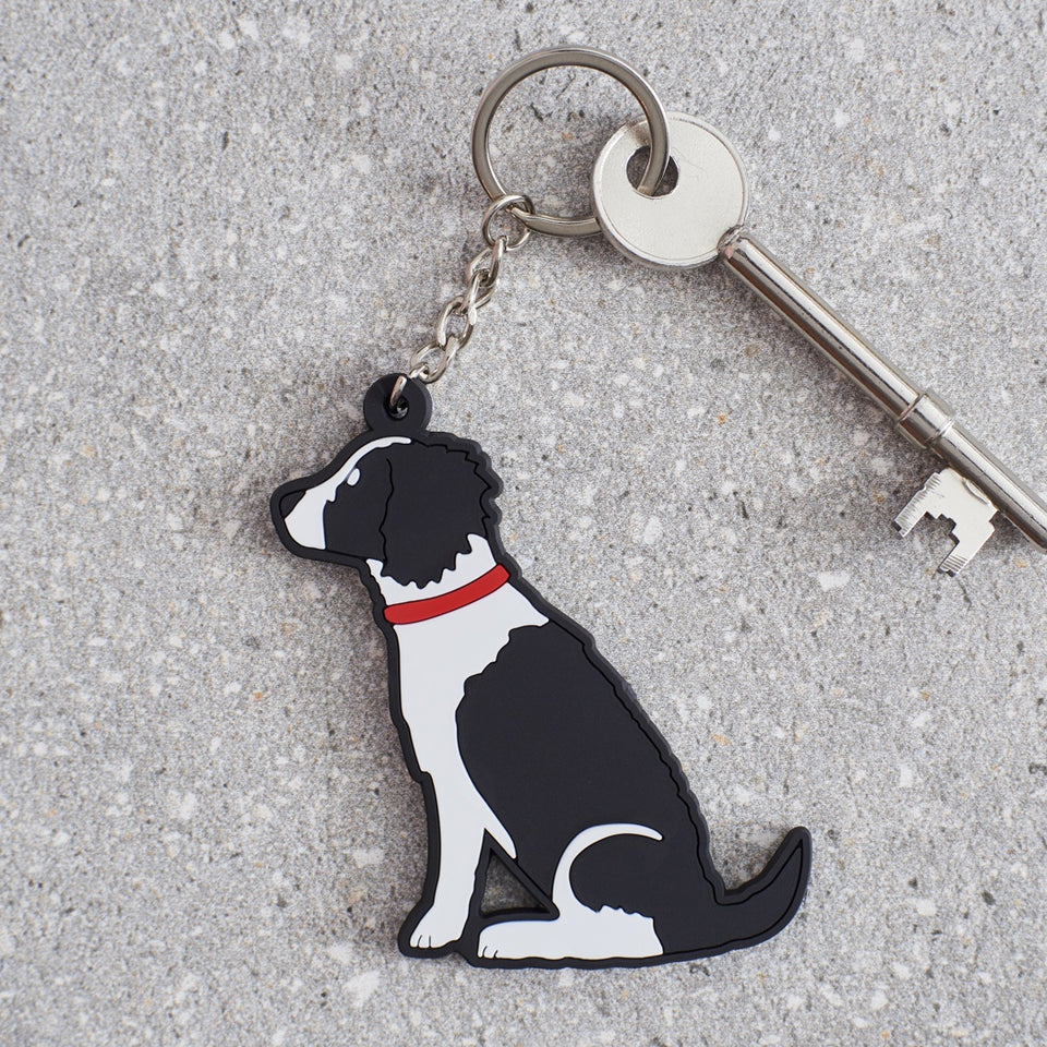 Black & White Springer Spaniel Dog Keyring