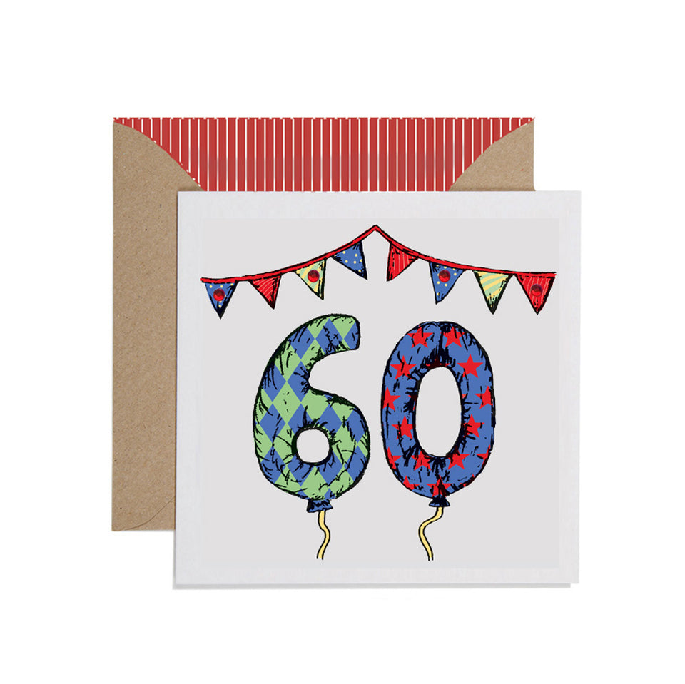 60th Birthday Card Balloons & Bunting - Apple & Clover