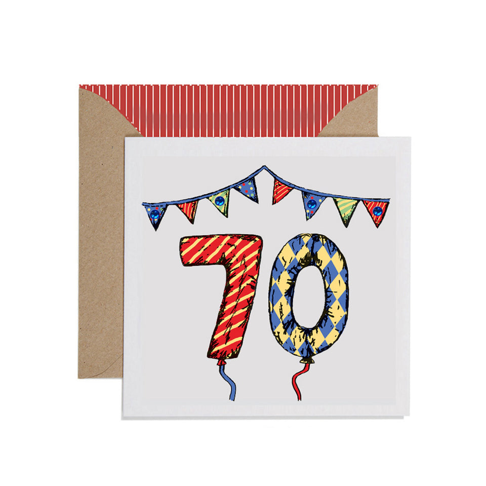 70th Birthday Card Balloons & Bunting - Apple & Clover