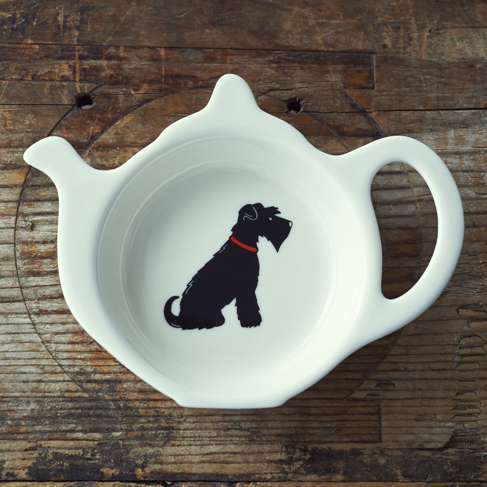 Black Schnauzer Teabag Dish - Sweet William