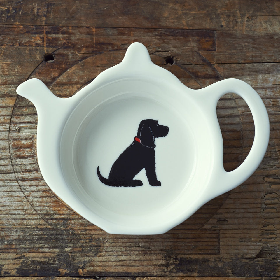 Black Cocker Spaniel Teabag Dish - Sweet William