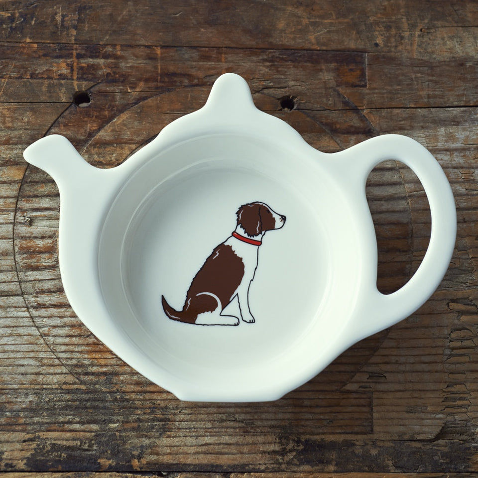 Liver & White Springer Spaniel Teabag Dish - Sweet William