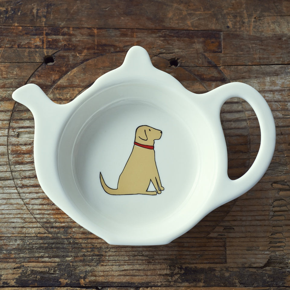 Yellow Labrador Teabag Dish - Sweet William