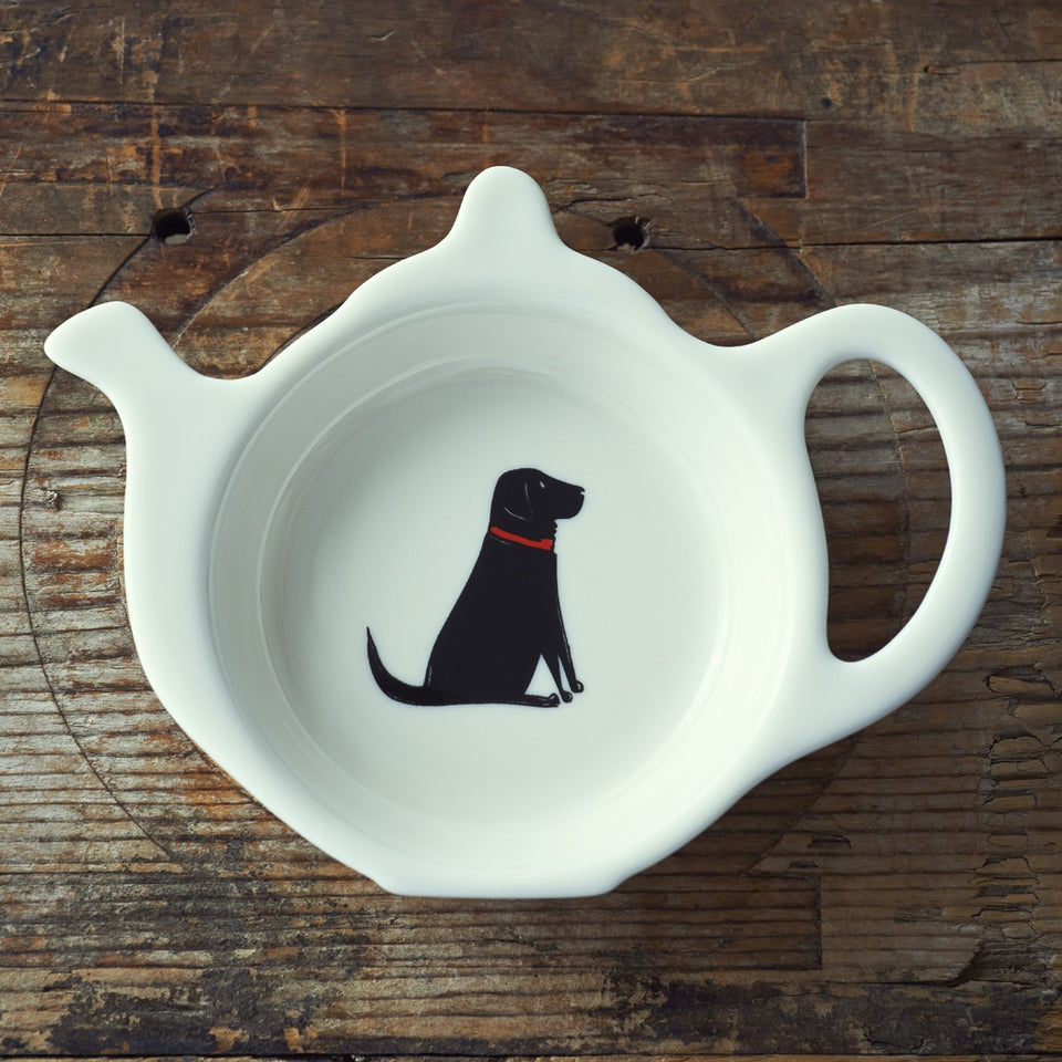 Black Labrador Teabag Dish - Sweet William