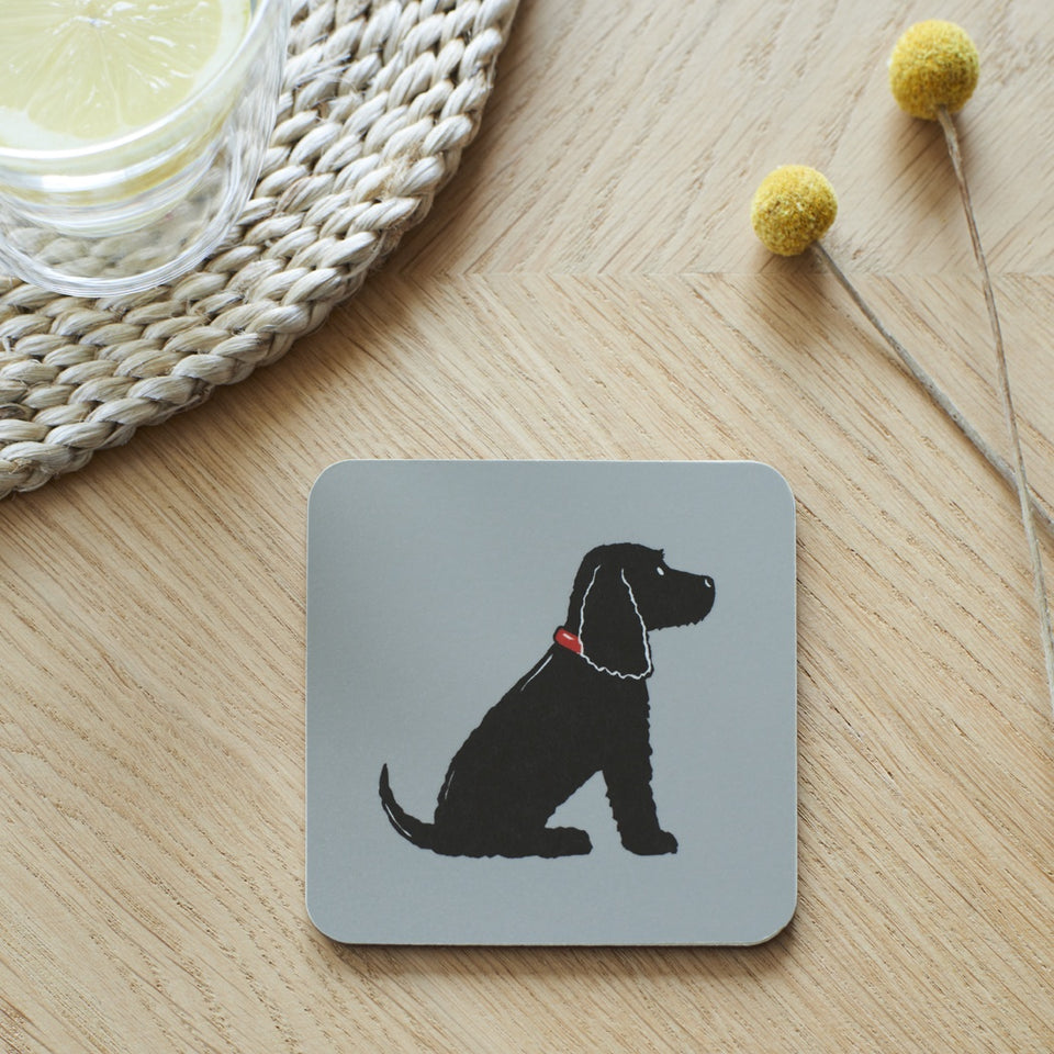 Black Cocker Spaniel Coaster - Sweet William