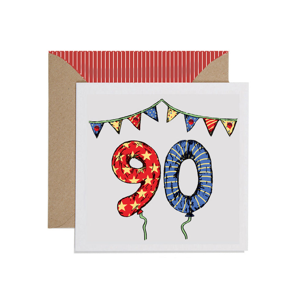 90th Birthday Card Balloons & Bunting - Apple & Clover