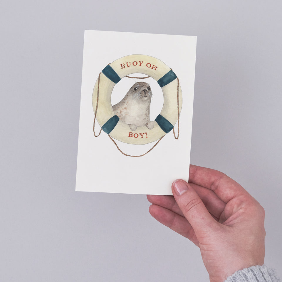 Buoy Oh Boy Illustrated New Baby Greeting Card - Mister Peebles