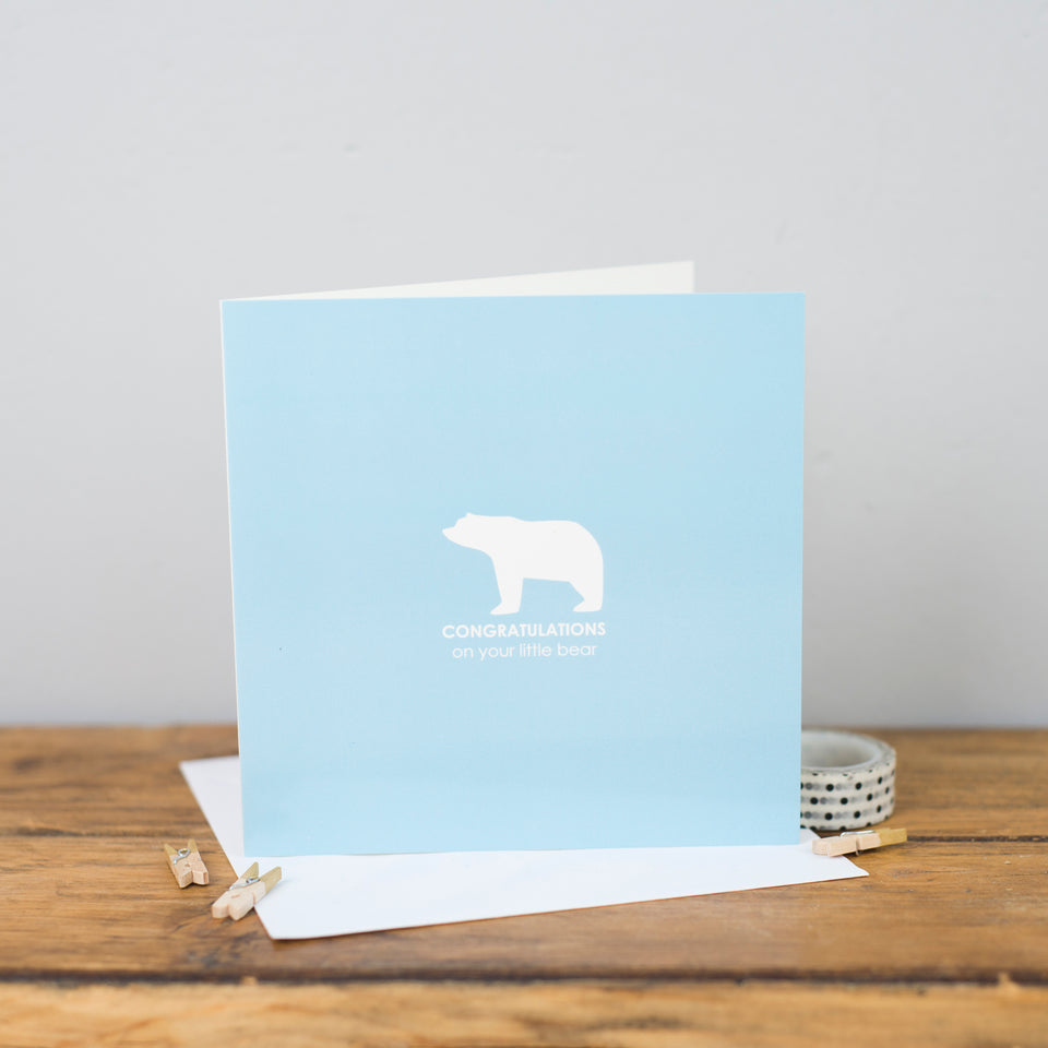 Little Bear Congratulations Card Blue - Heather Alstead
