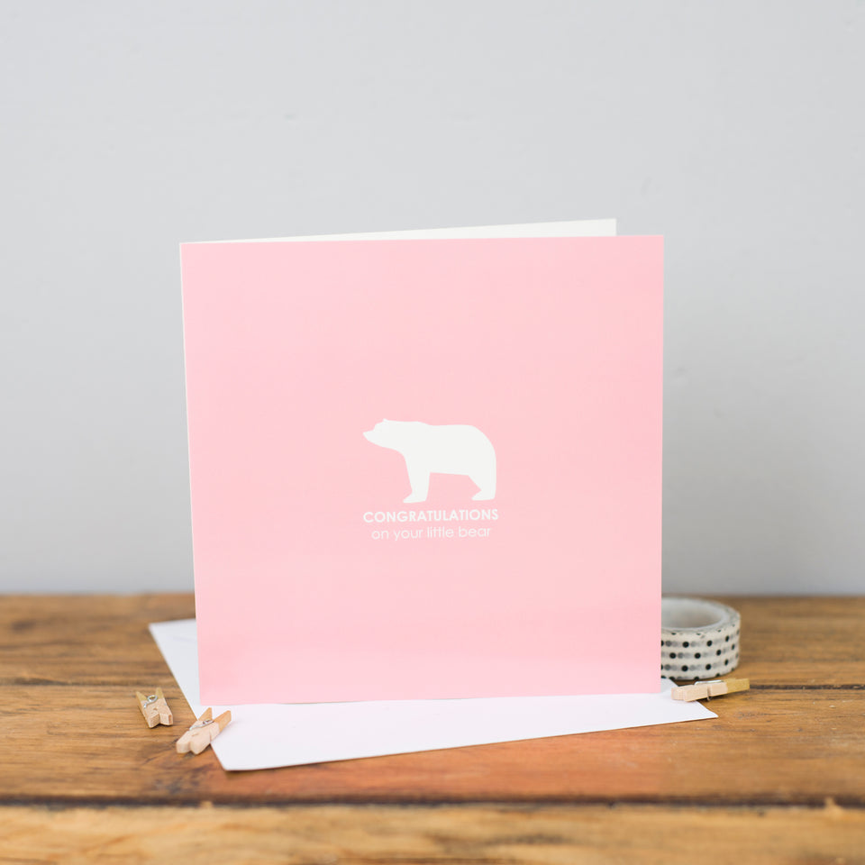 Little Bear Congratulations Pink Card - Heather Alstead