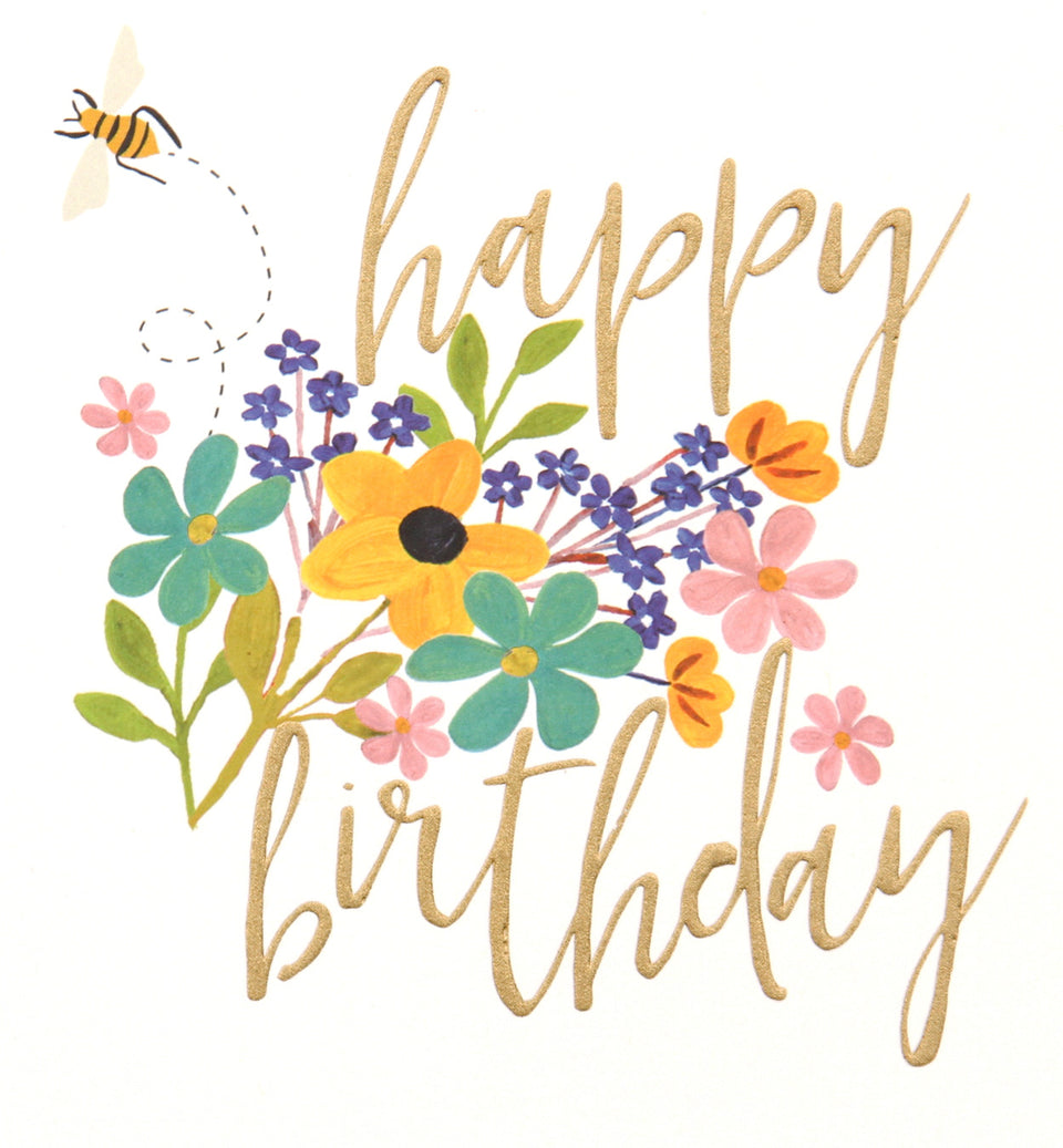 Happy Birthday Bouquet Bee Card - Birthday Cards - Caroline Gardner