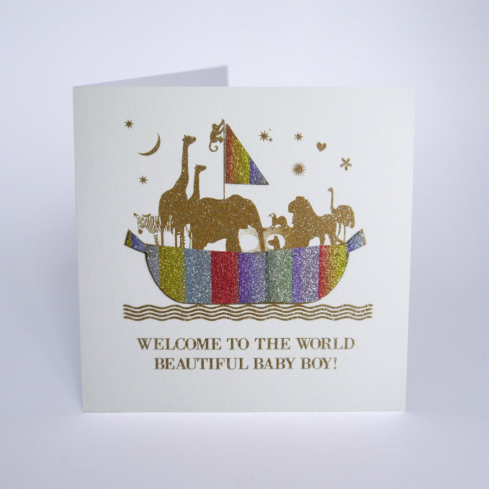 Welcome To The World Beautiful Baby Boy Card - Five Dollar Shake
