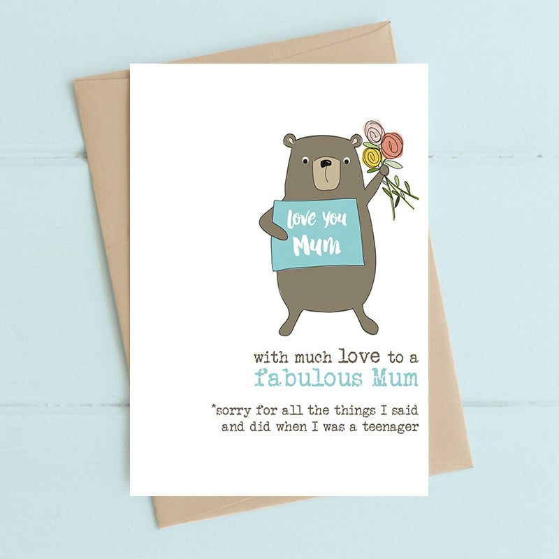 Mum, Sorry For Being a Teenager Card - Dandelion Stationery