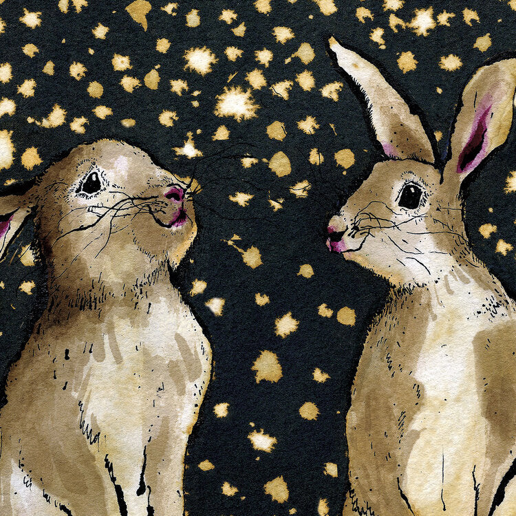 Snow Bunnies Signed Mounted Print - Anna Wright