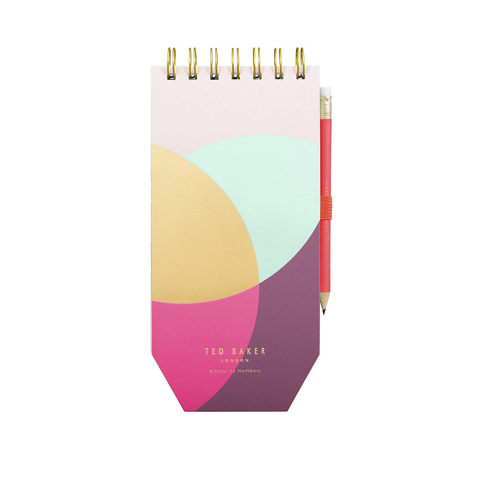 Ted Baker Colour By Numbers Spiral Bound Jotter with Pencil
