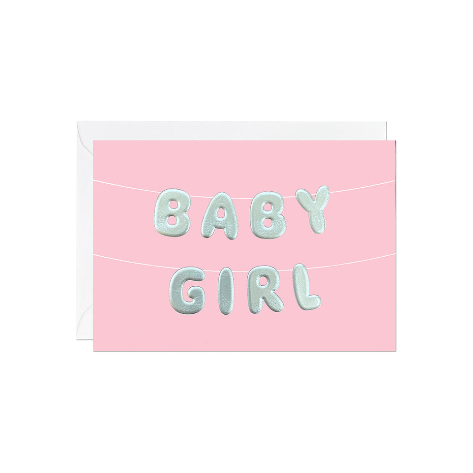 Baby Girl Balloon Bunting Card - Ricicle
