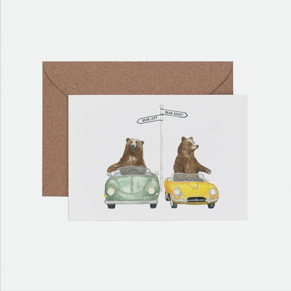 Bear Left Bear Right Illustrated Greeting Card - Mister Peebles