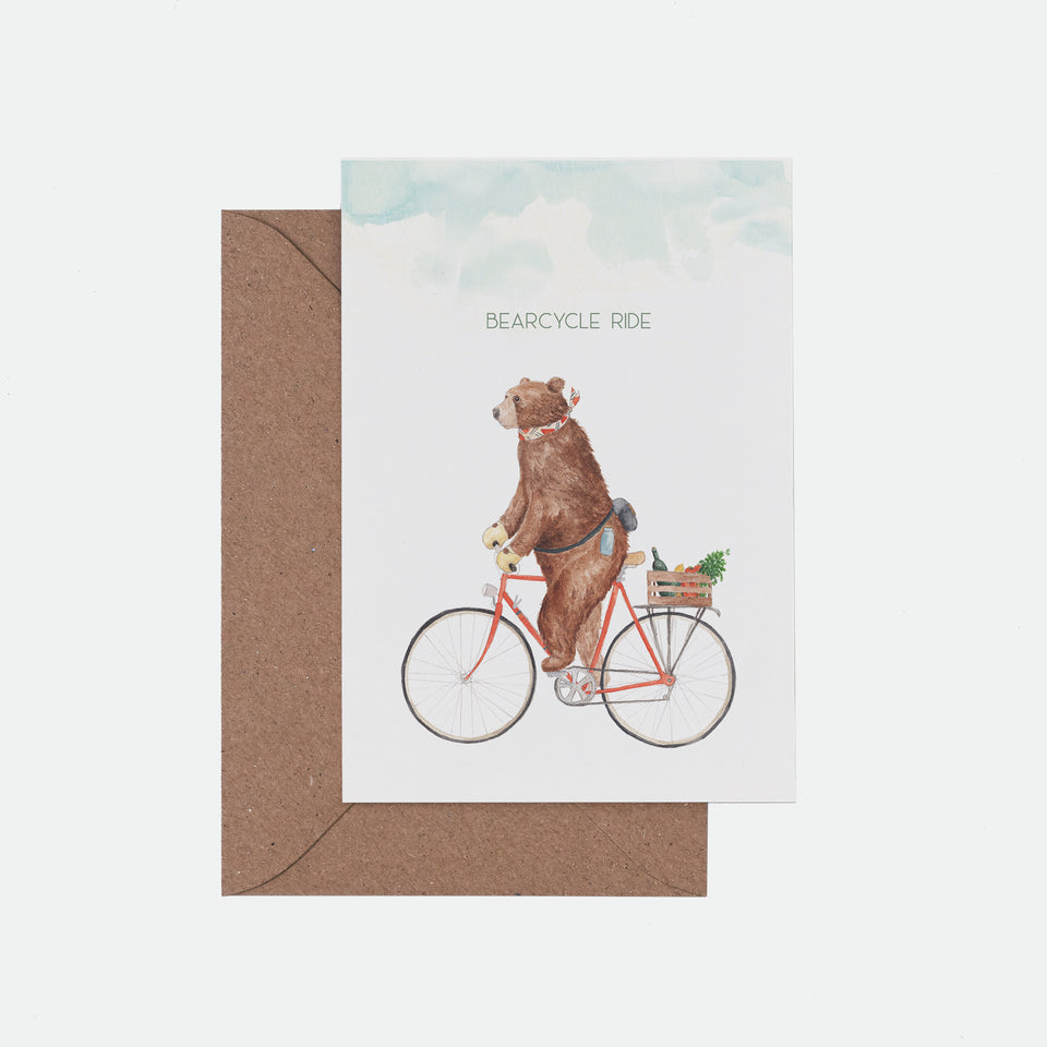 Bearcycle Illustrated Greeting Card - Mister Peebles