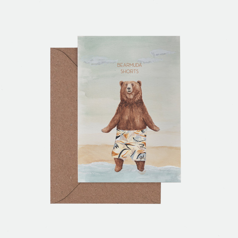 Bearmuda Shorts Illustrated Greeting Card - Mister Peebles
