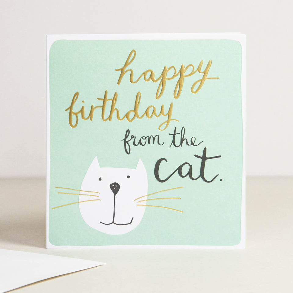 Happy Birthday From The Cat Calligraphy Card - Caroline Gardner