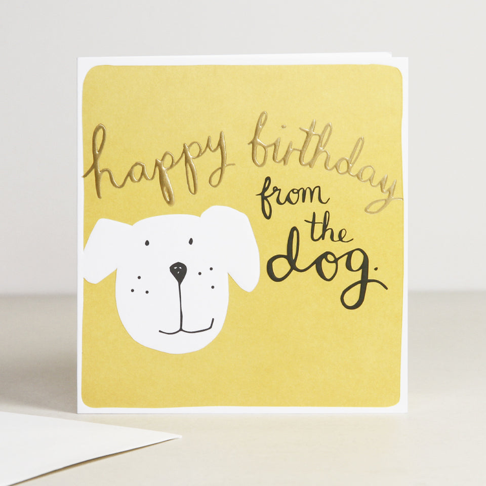 Happy Birthday From The Dog Calligraphy Card - Caroline Gardner