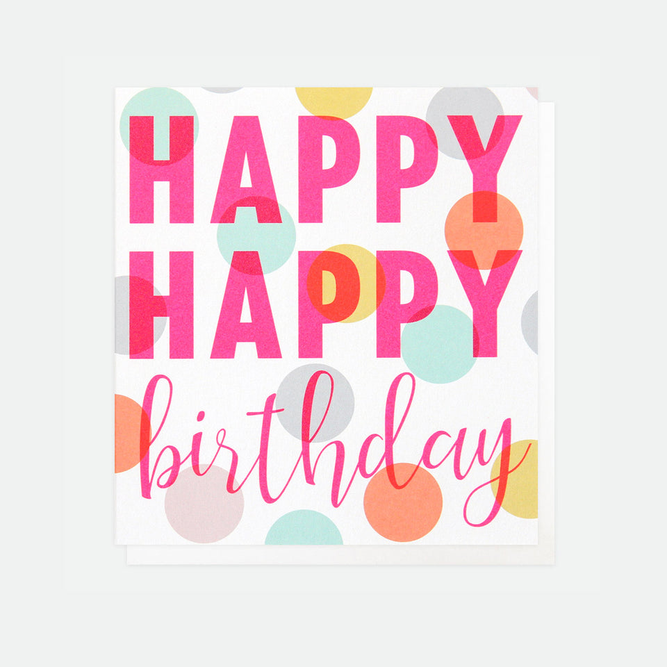 Happy Happy Neon Birthday Card - Caroline Gardner
