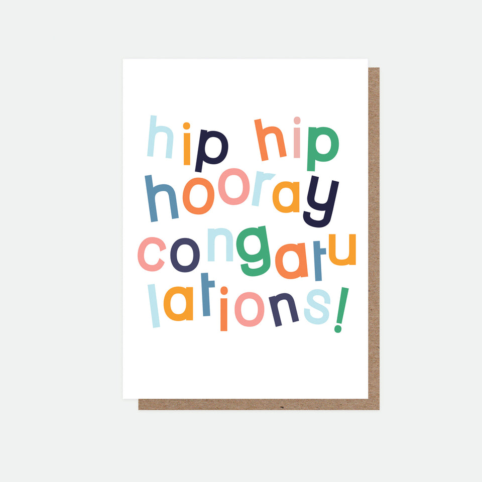 Hip Hip Hooray Congratulations Greeting Card - Caroline Gardner
