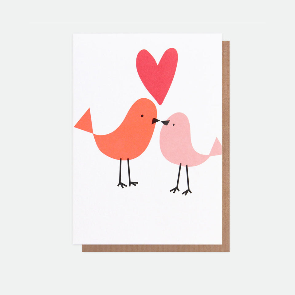 Neon Birds With Heart Greeting Card - Caroline Gardner
