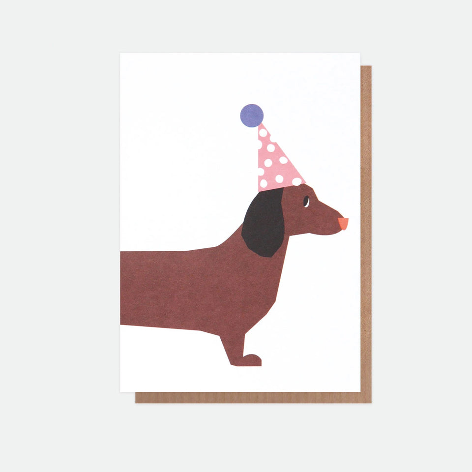 Neon Sausage Dog Birthday Card - Caroline Gardner