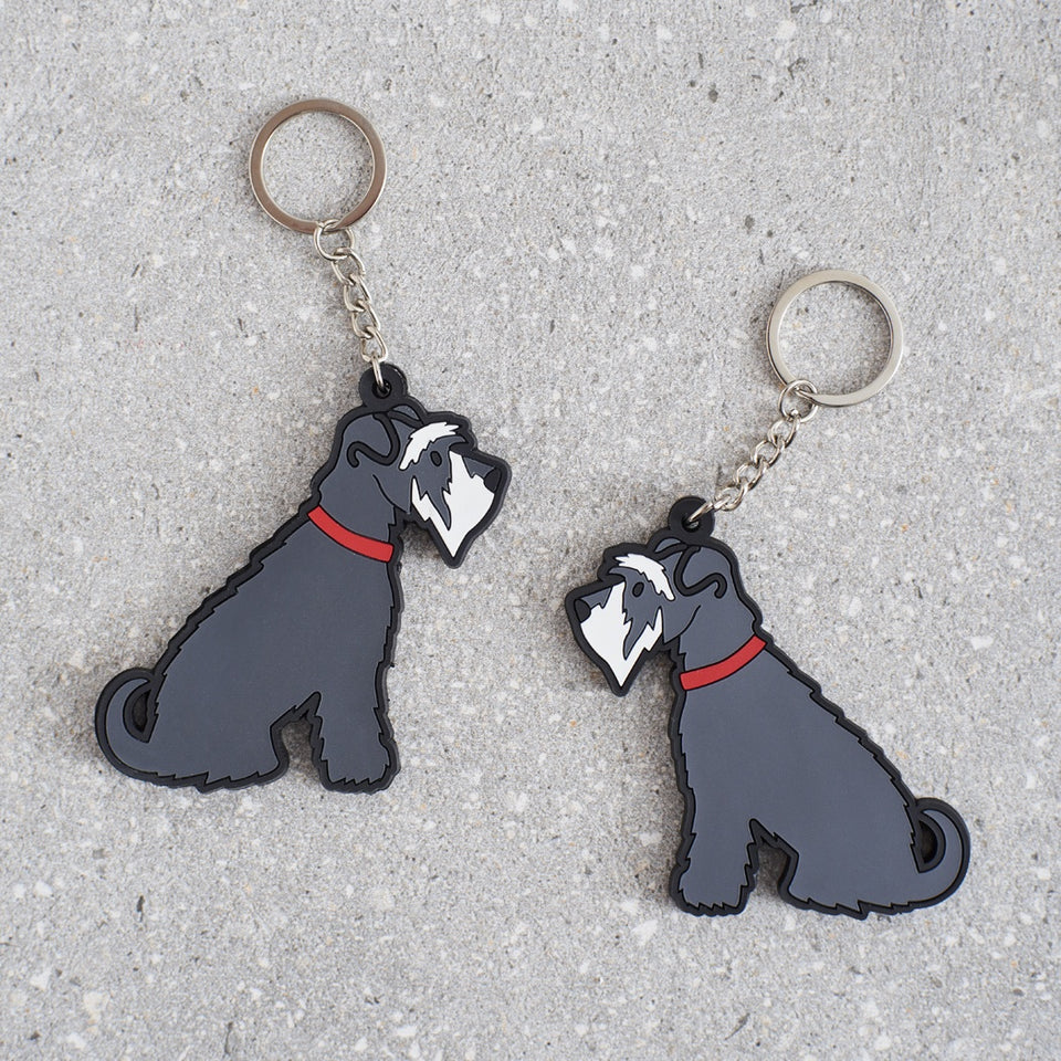 Grey Schnauzer Dog Keyring - Sweet William