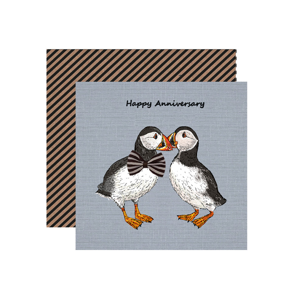 Happy Anniversary Puffins Card - Apple & Clover