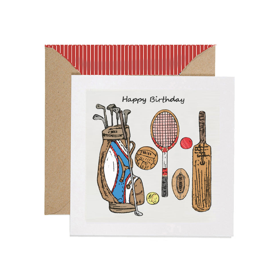Vintage Sports Happy Birthday Card - Apple & Clover