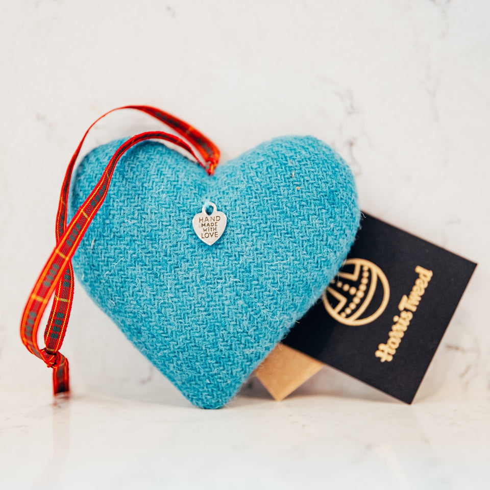 Teal Harris Tweed Heart - Bertie Girl
