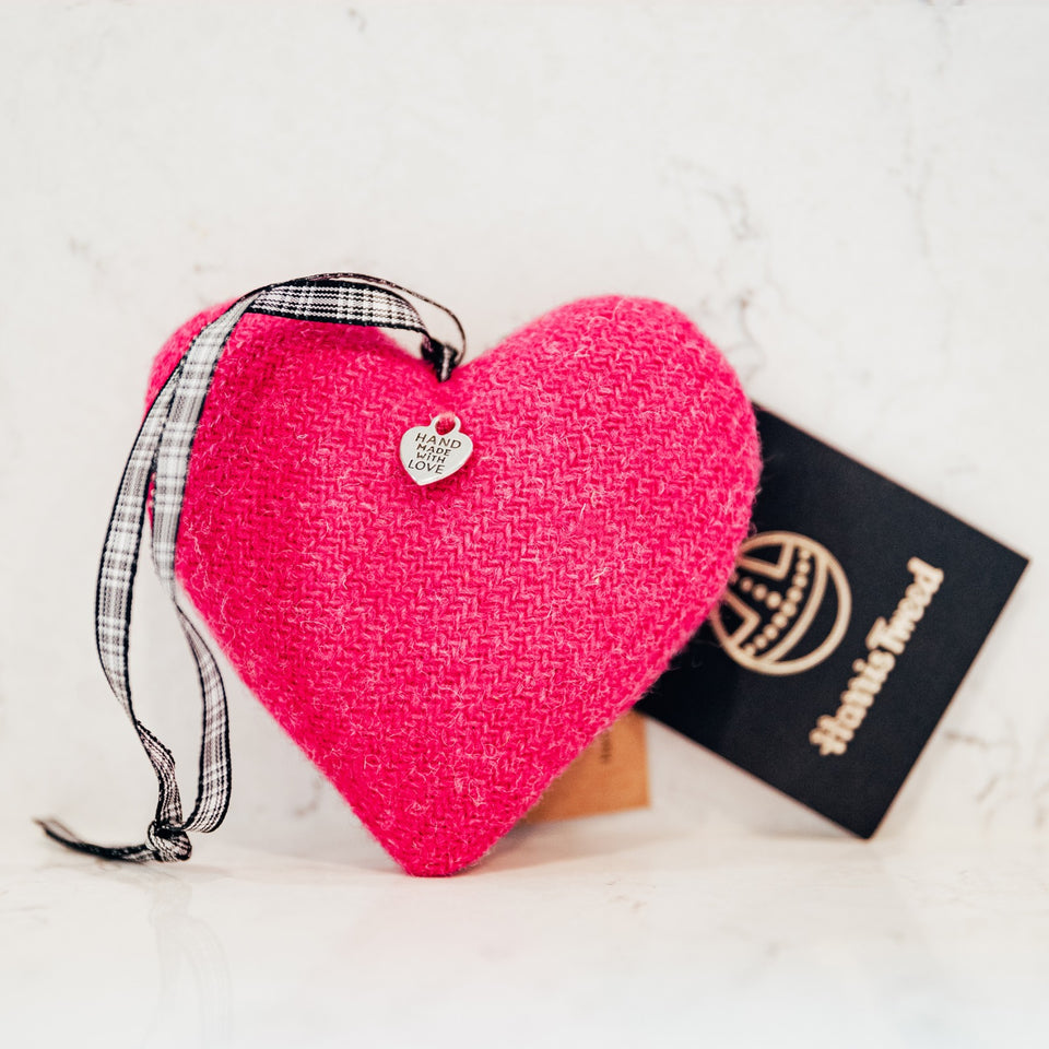 Hot Pink Harris Tweed Heart - Bertie Girl