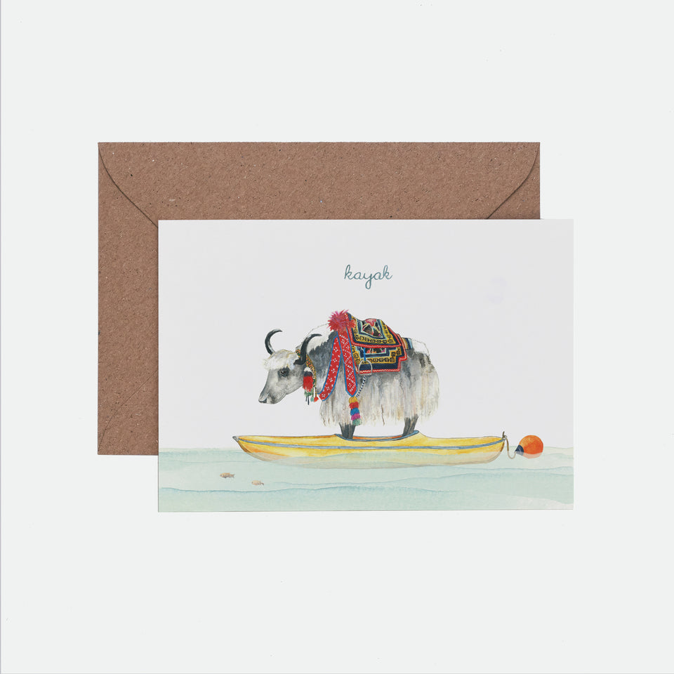 Kayak Illustrated Greeting Card - Mister Peebles