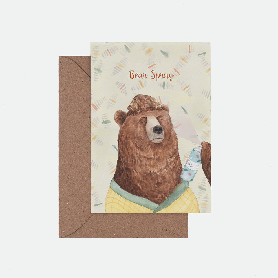 Bear Spray Illustrated Greeting Card - Mister Peebles