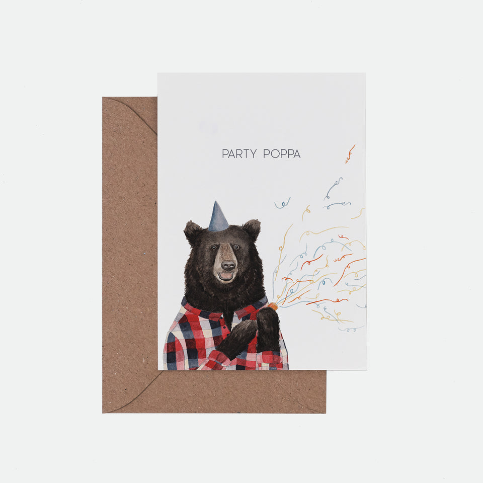 Party Popper Illustrated Birthday Card - Mister Peebles