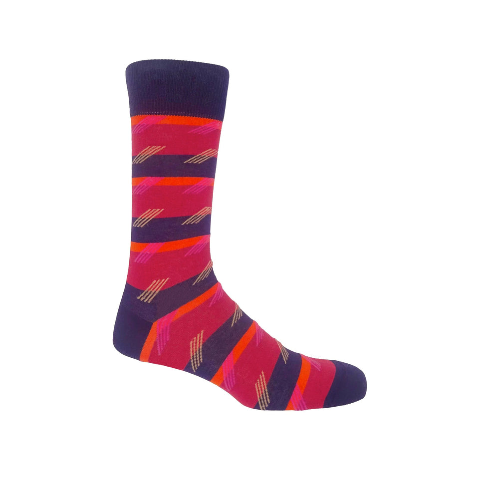Diagonal Stripe Men's Socks - Crimson - Peper Harow