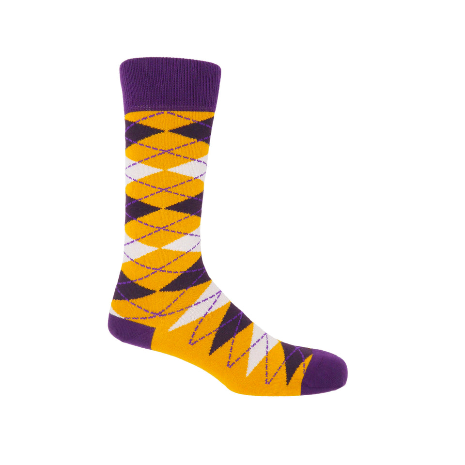 Argyle Men's Socks - Mustard - Peper Harow