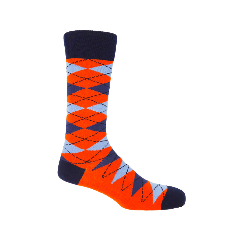 Argyle Men's Socks - Orange - Peper Harow