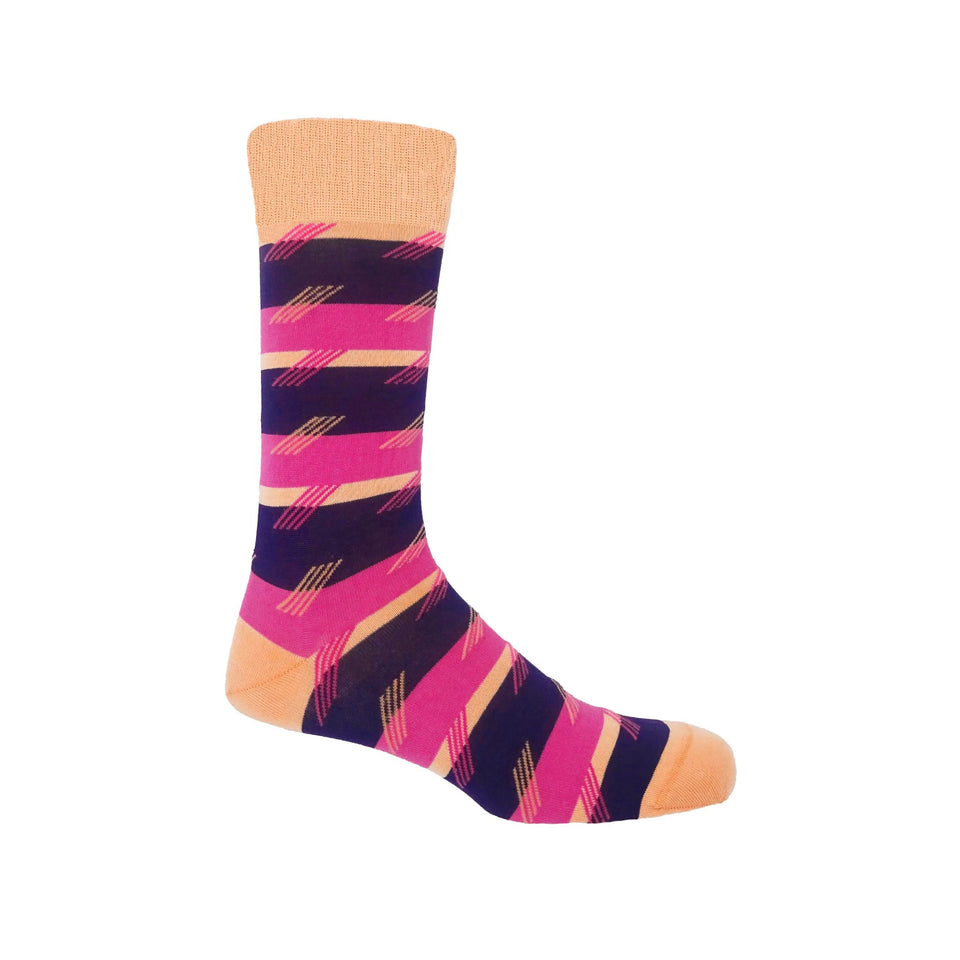 Diagonal Stripe Men's Socks - Plum - Peper Harow