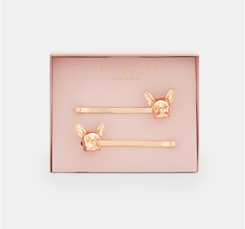 Ted Baker Rose Gold French Bulldog Hair Clips