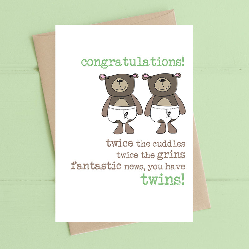 Fantastic News, Twins Card - Dandelion Stationery