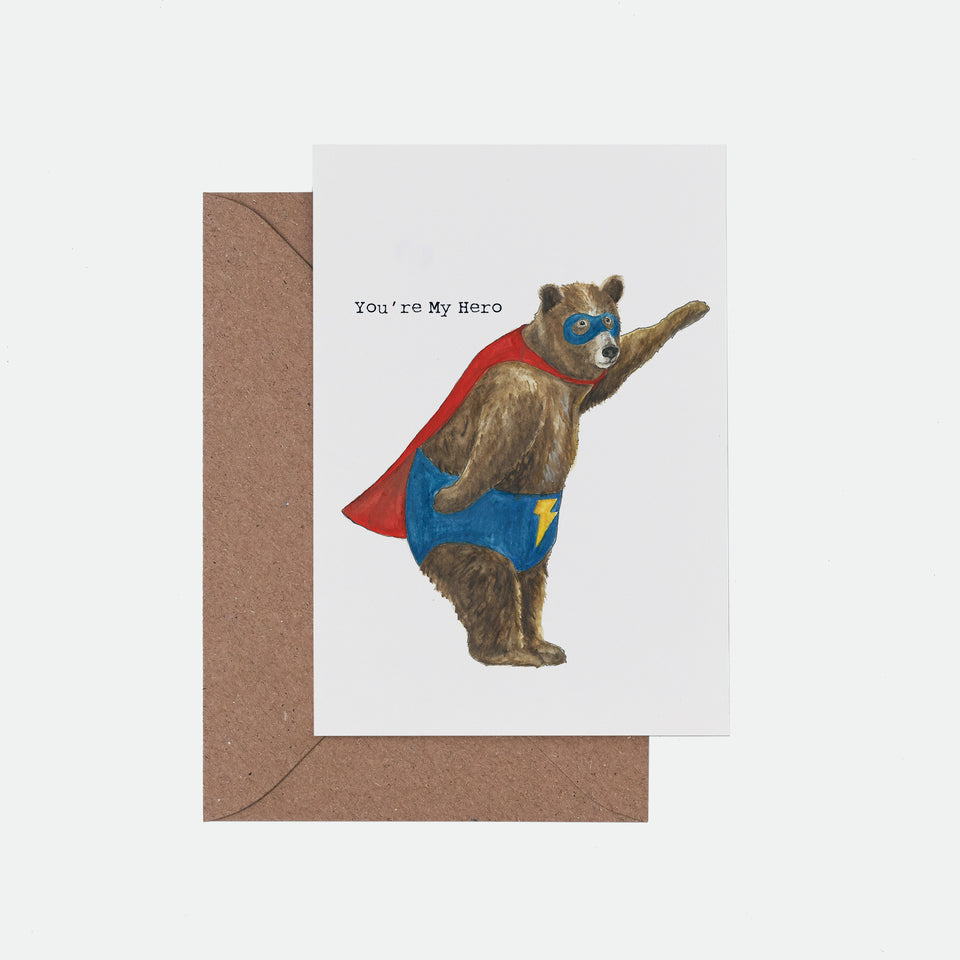 You're My Hero Illustrated Greeting Card - Mister Peebles