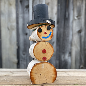 Handcrafted Birch Christmas Snowman