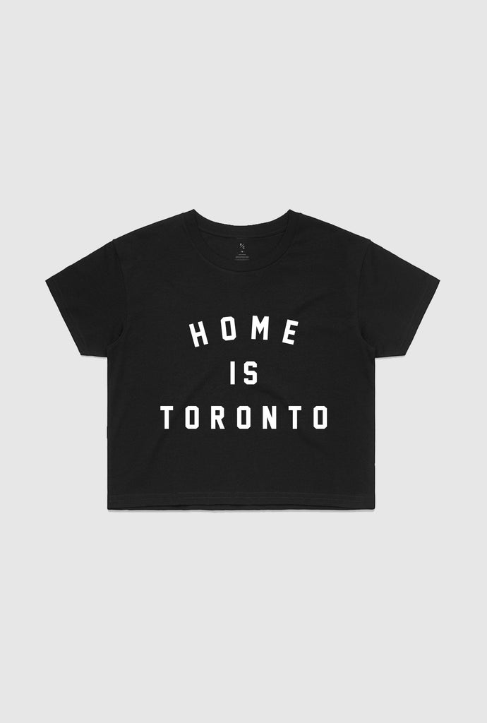 Home is Toronto Varsity Cropped T-Shirt - Black