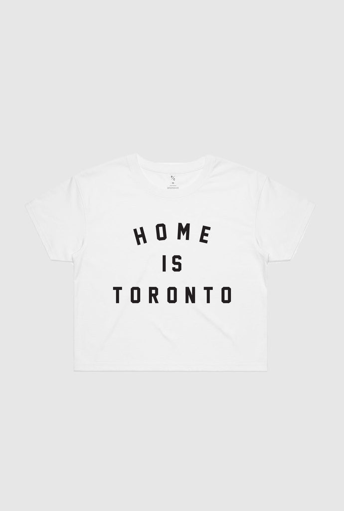 Home is Toronto Varsity Cropped T-Shirt - White